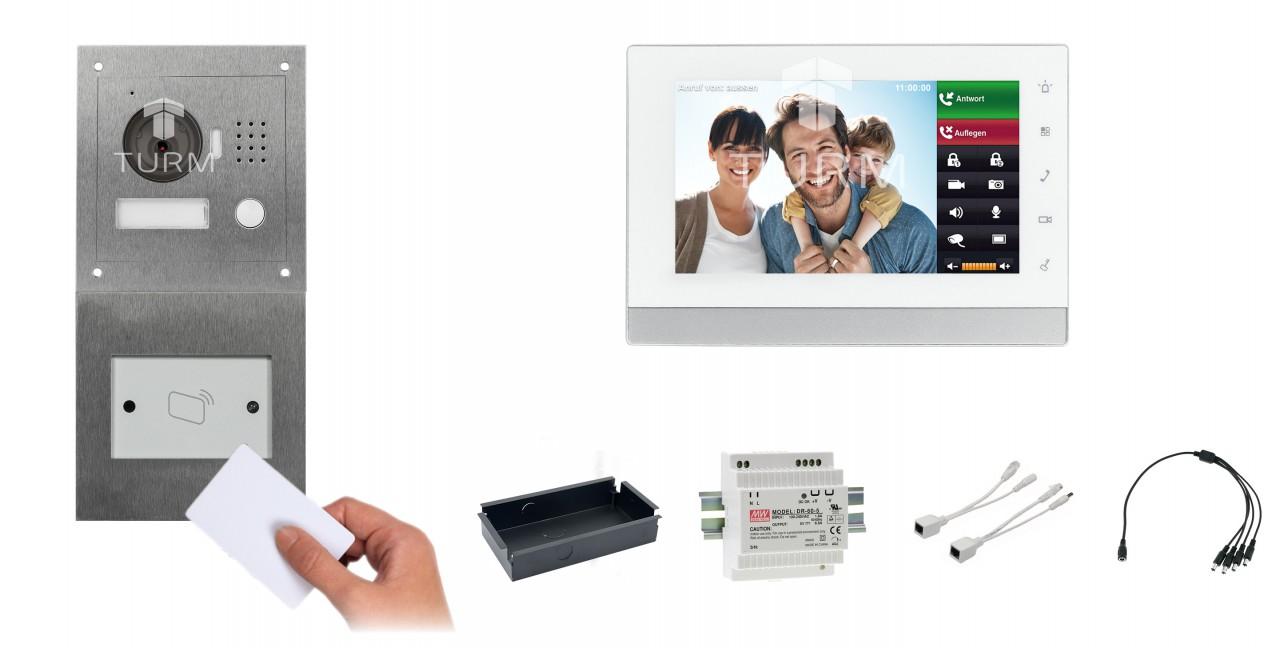 """IP Netzwerk-Video-Türsprechanlage mit 7"""" LCD für das Einfamilienhaus + RFID Modul"""