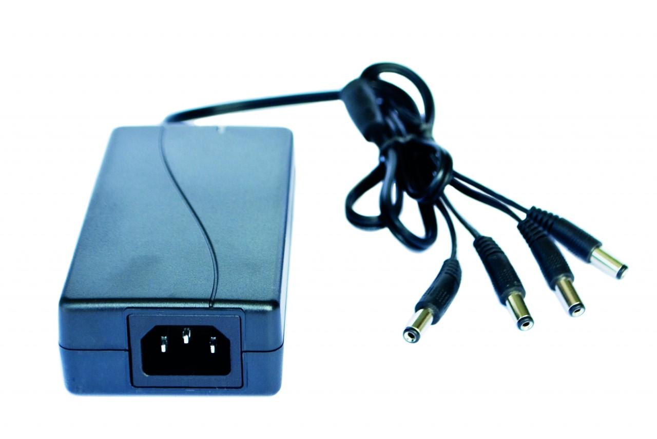 Steckernetzteil 5A, DC 12V für bis zu 4 Überwachungskameras mit 4-Fach Verteiler und Kaltgerätesteck