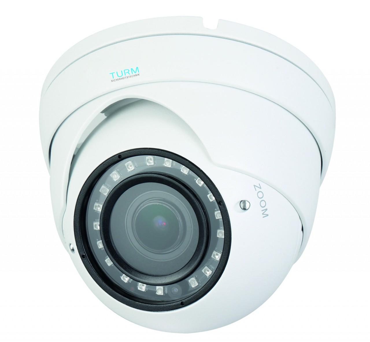 TURM HDCVI Lite 4 MP Dome Kamera, 30m Nachtsicht, 2.7-13.5mm Vario Objektiv