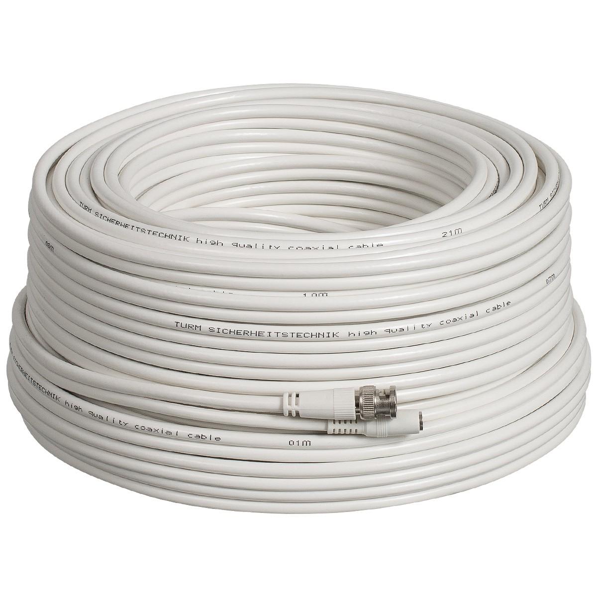Kombi-Kabel für Full HD Videoüberwachung 10m, 20m oder 30m RG59 Koaxial Kabel