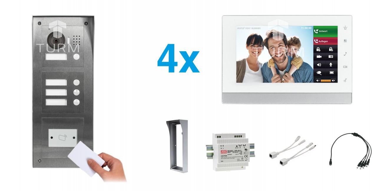 """IP Netzwerk-Video-Türsprechanlage mit 7"""" LCD für das Mehrfamilienhaus + RFID Modul"""