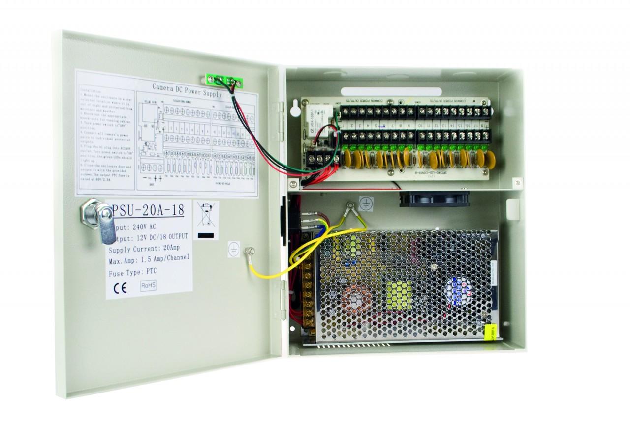Stromkasten mit 18 Anschlüssen DC 12V, 20A für bis zu 18 Überwachungskameras