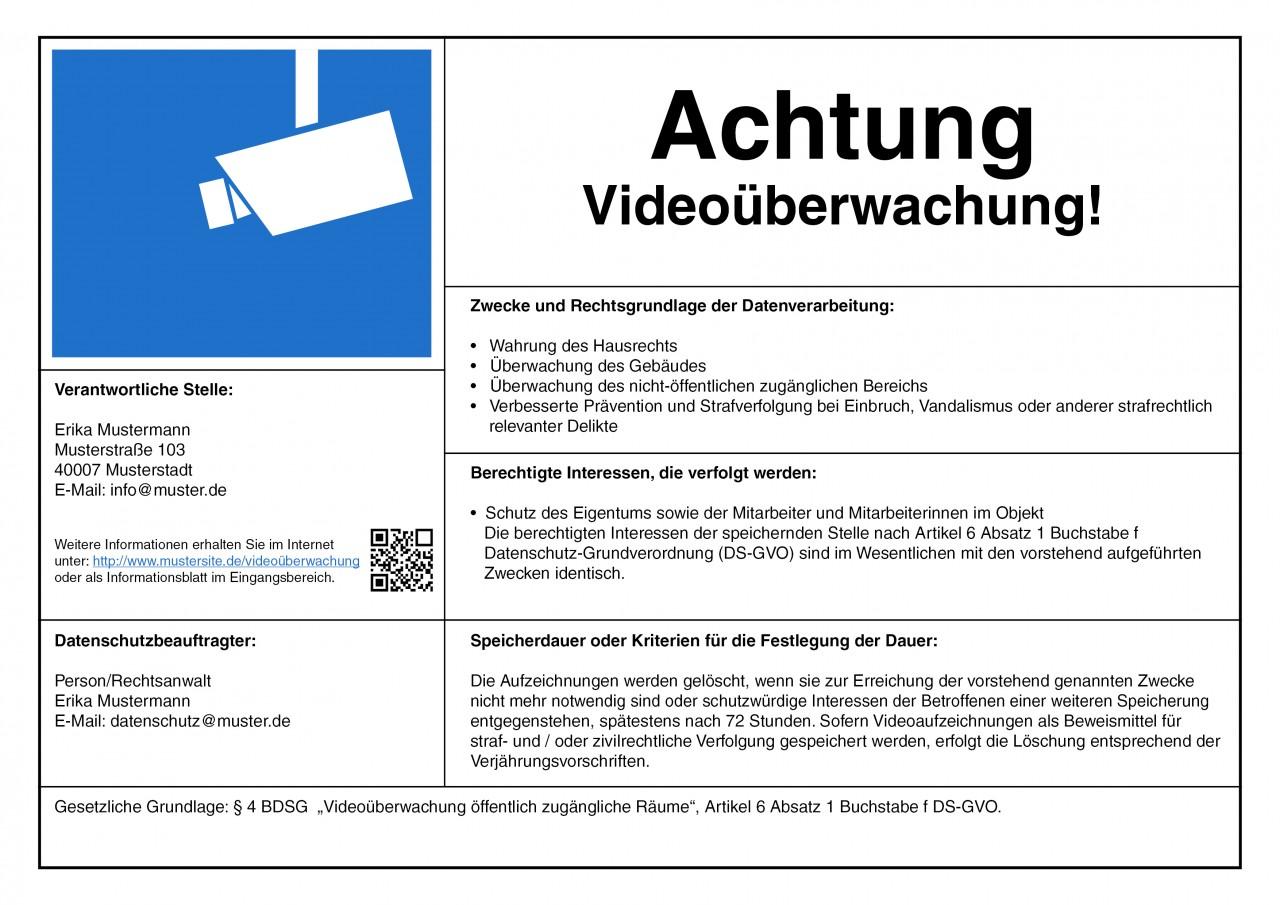 Videoüberwachung Hinweisschild nach DSGVO, personalisiert